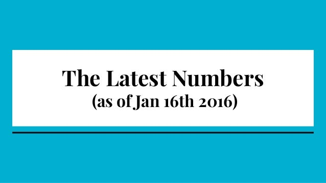 The Latest Numbers (as of Jan 16th 2016)