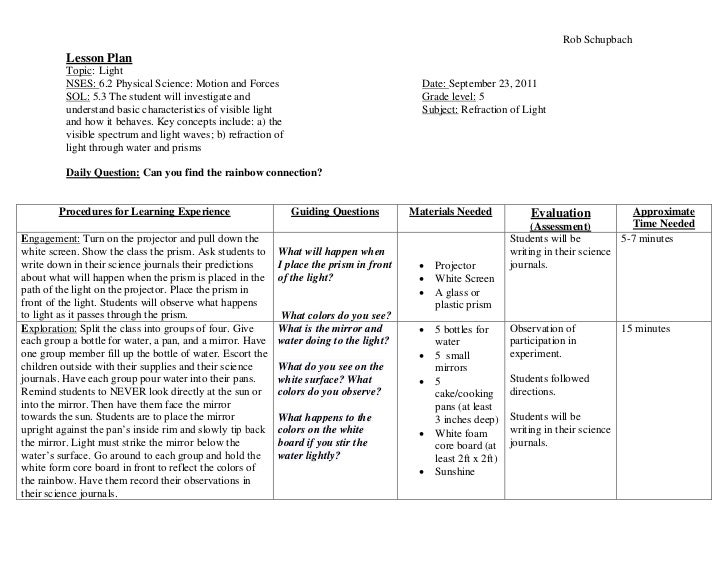 Rob Schupbach          Lesson Plan          Topic: Light          NSES: 6.2 Physical Science: Motion and Forces           ...