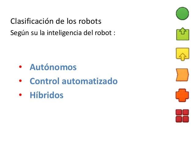 Clasificación de los robots Según su la inteligencia del robot : • Autónomos • Control automatizado • Híbridos