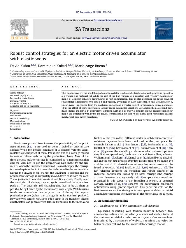 Robust control strategies for an electric motor driven accumulator with elastic webs David Kuhm a,b,c , Dominique Knittel ...