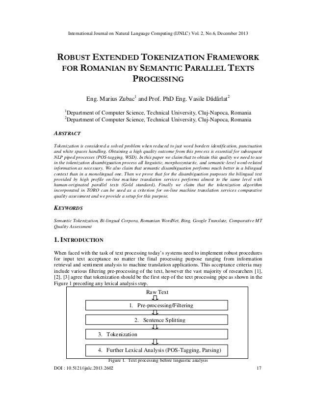 International Journal on Natural Language Computing (IJNLC) Vol. 2, No.6, December 2013  ROBUST EXTENDED TOKENIZATION FRAM...