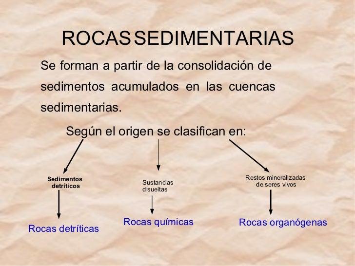 ROCAS   SEDIMENTARIAS Se forman a partir de la consolidación de  sedimentos acumulados en las cuencas sedimentarias. Según...