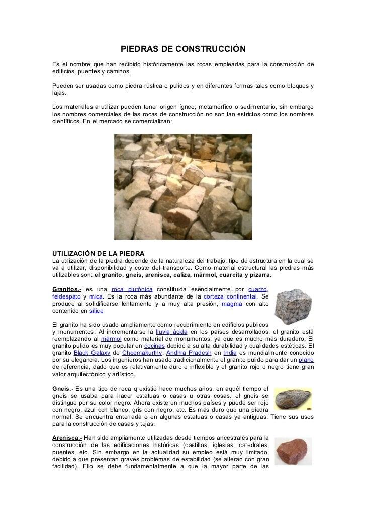 Rocas en la contruccion for Informacion sobre el granito