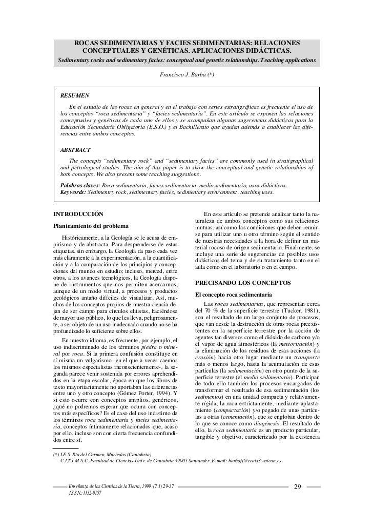 ROCAS SEDIMENTARIAS Y FACIES SEDIMENTARIAS: RELACIONES                  CONCEPTUALES Y GENÉTICAS. APLICACIONES DIDÁCTICAS....
