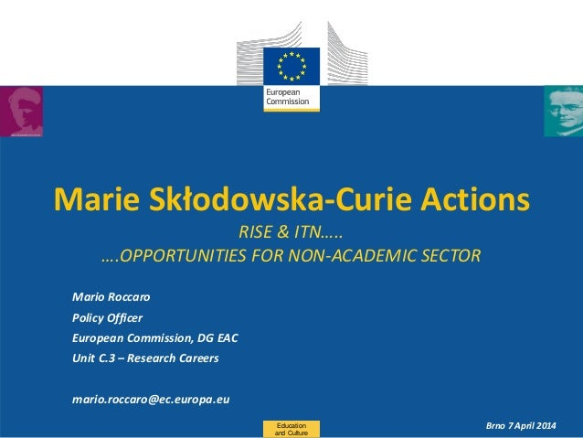 Date: in 12 pts Marie Skłodowska-Curie Actions RISE & ITN….. ….OPPORTUNITIES FOR NON-ACADEMIC SECTOR Mario Roccaro Policy ...
