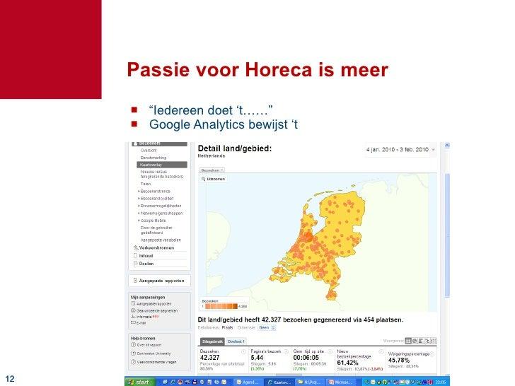 """Passie voor Horeca is meer <ul><li>"""" Iedereen doet 't……"""" </li></ul><ul><li>Google Analytics bewijst 't  </li></ul>"""