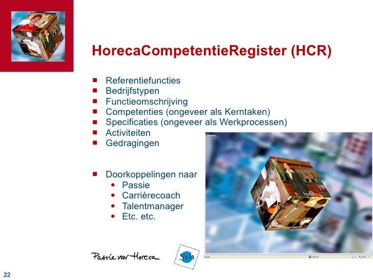 HorecaCompetentieRegister (HCR) <ul><li>Referentiefuncties </li></ul><ul><li>Bedrijfstypen </li></ul><ul><li>Functieomschr...