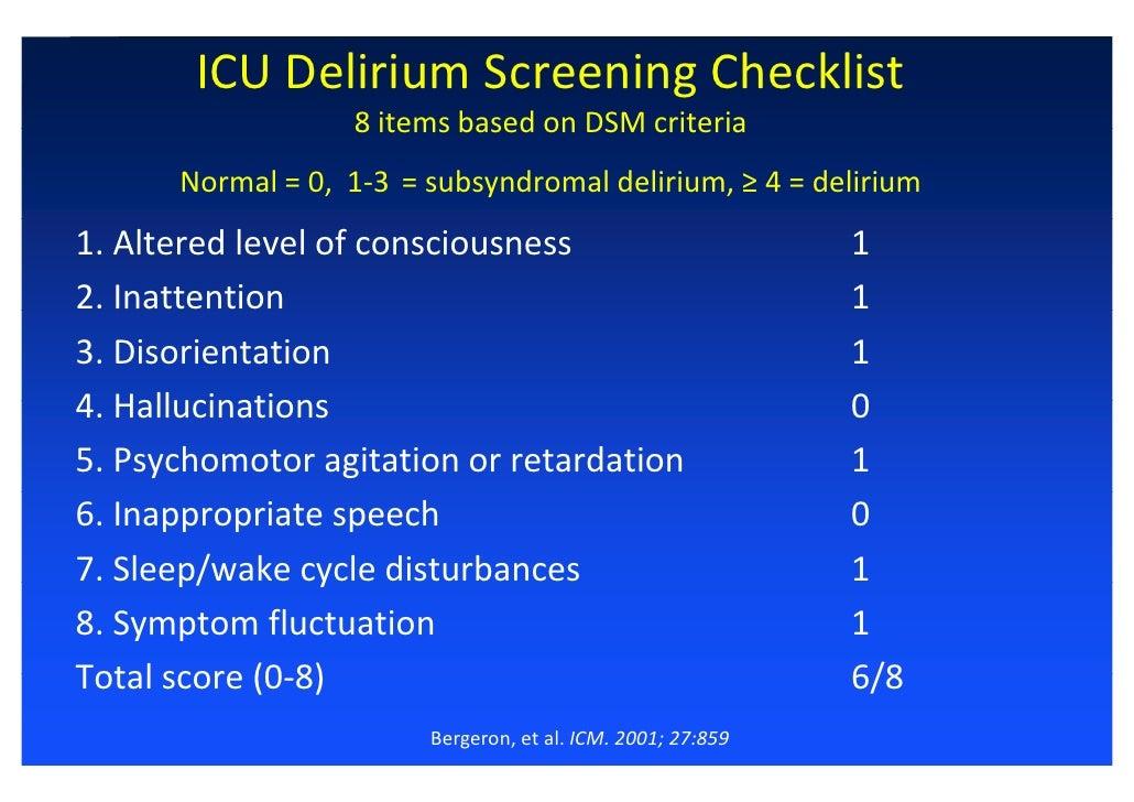 Delirium In Icu Characteristic Diagnosis And Prevention