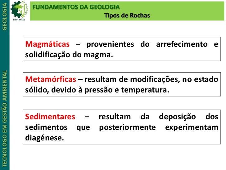 GEOLOGIA                         FUNDAMENTOS DA GEOLOGIA                                                    Tipos de Rocha...