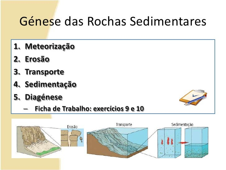 Génese das Rochas Sedimentares<br />Meteorização<br />Erosão<br />Transporte<br />Sedimentação<br />Diagénese<br />Ficha d...