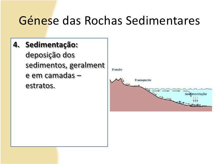 Génese das Rochas Sedimentares<br />Sedimentação: deposição dos sedimentos, geralmente em camadas – estratos.<br />