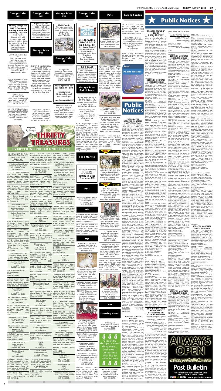 Public notices for July 27, 2012