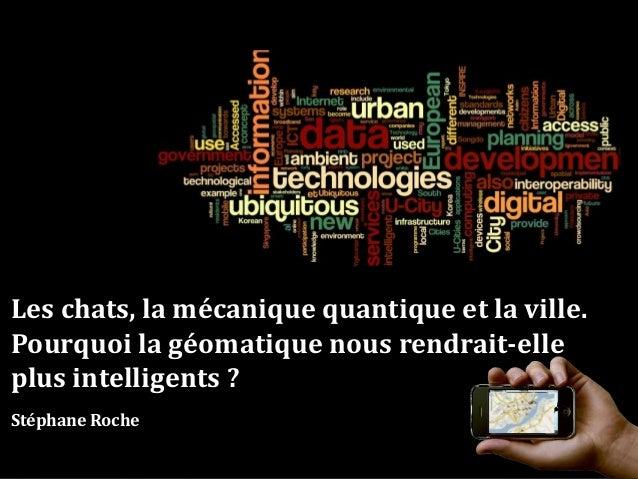 Les chats, la mécanique quantique et la ville. Pourquoi la géomatique nous rendrait-elle plus intelligents ? Stéphane Roche