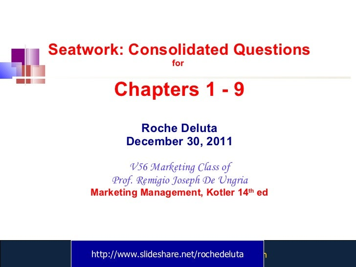 Seatwork: Consolidated Questions for  Chapters 1 - 9 Roche Deluta December 30, 2011 V56 Marketing Class of Prof. Remigio J...
