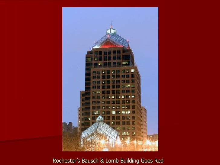Rochester's Bausch & Lomb Building Goes Red