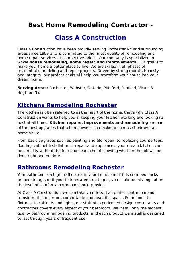 Best Home Remodeling Contractor Class A Construction Have Been Proudly Serving Rochester