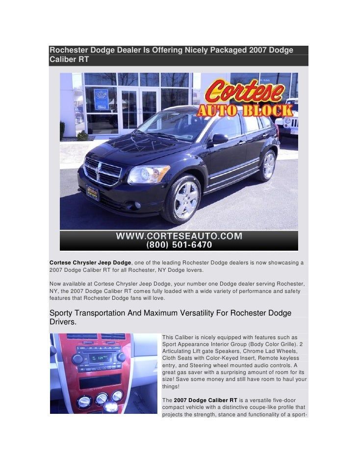 Dodge Dealers Rochester Ny >> 2007 Dodge Caliber Rt At Rochester