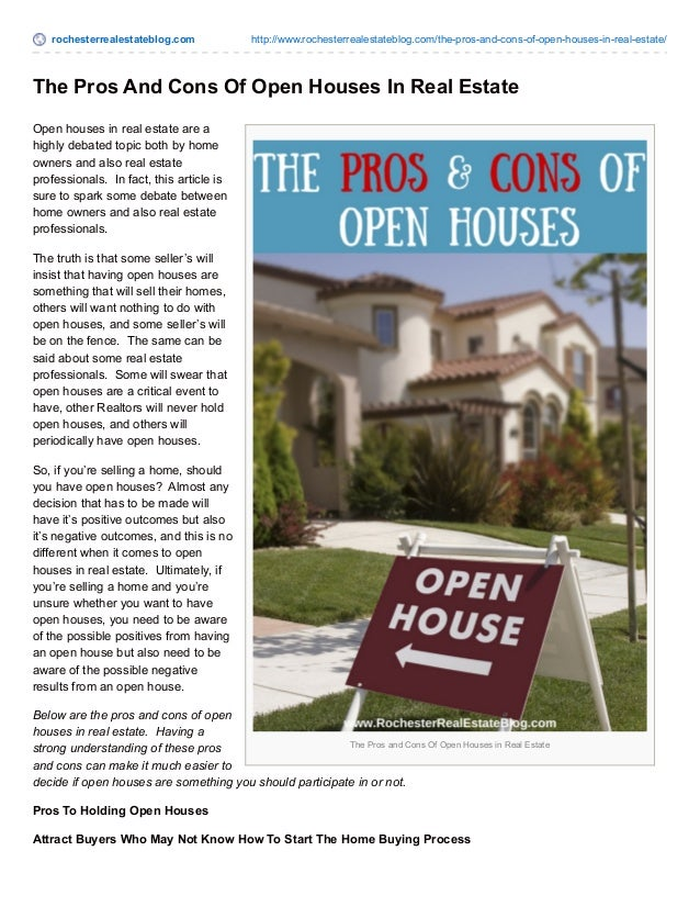 rochesterrealestateblog.com http://www.rochesterrealestateblog.com/the-pros-and-cons-of-open-houses-in-real-estate/ The Pr...