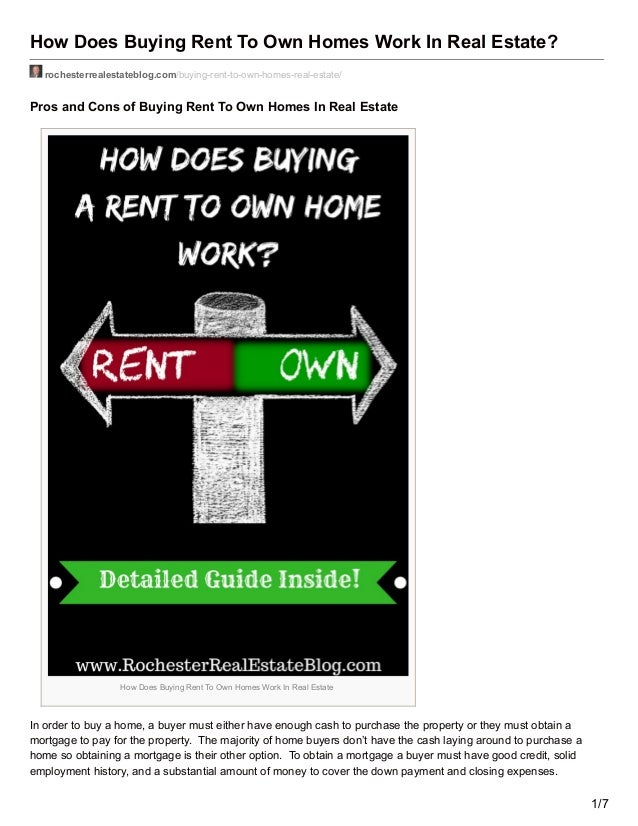 How Does Buying Rent To Own Homes Work In Real Estate? rochesterrealestateblog.com/buying-rent-to-own-homes-real-estate/ P...