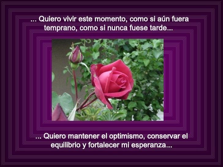 ... Quiero vivir este momento, como si aún fuera temprano, como si nunca fuese tarde...  ... Quiero mantener el optimismo,...