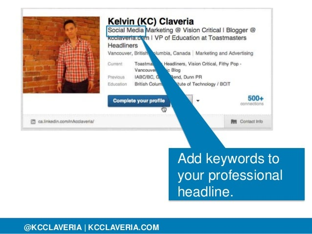 @KCCLAVERIA@KCCLAVERIA | KCCLAVERIA.COM Add keywords to your professional headline.