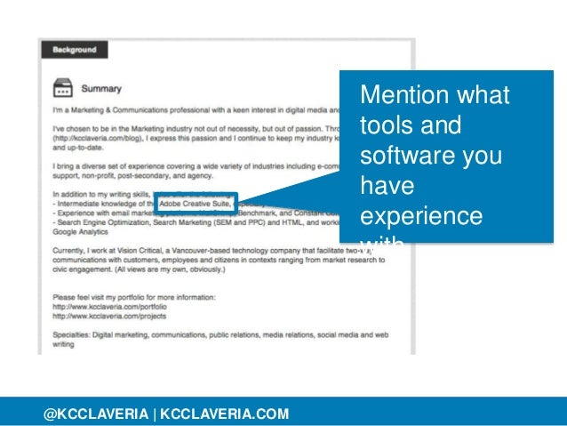 @KCCLAVERIA@KCCLAVERIA | KCCLAVERIA.COM Mention what tools and software you have experience with.