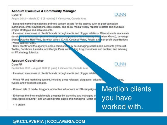 @KCCLAVERIA@KCCLAVERIA | KCCLAVERIA.COM Mention clients you have worked with.