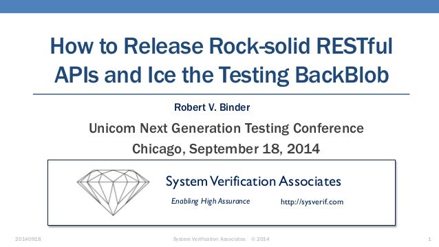 20140918 System Verification Associates © 2014 1 How to Release Rock-solid RESTful APIs and Ice the Testing BackBlob Unico...