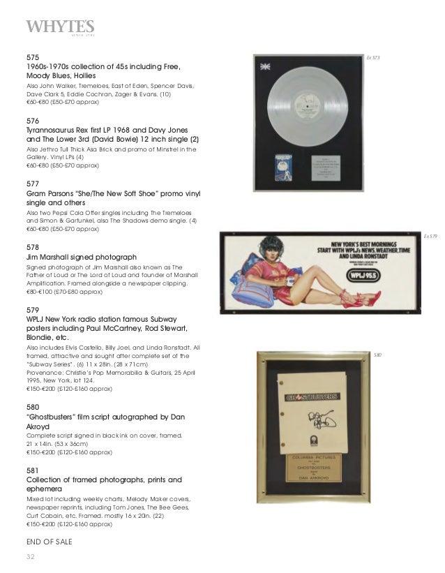 Whyte S Rock Amp Pop Memorabilia Auction