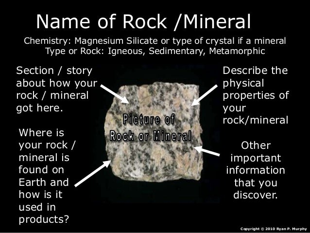 Name of Rock /Mineral Chemistry: Magnesium Silicate or type of crystal if a mineral Type or Rock: Igneous, Sedimentary, Me...