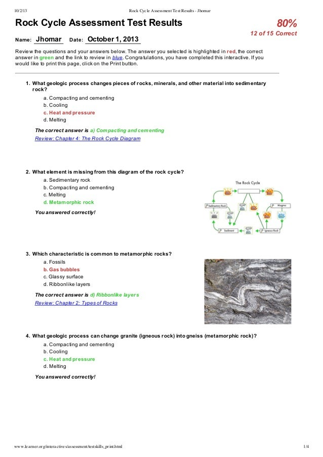 Rock cycle diagram for test library of wiring diagram rock cycle assessment test results jhomar rh slideshare net earth science rock cycle diagram rock cycle story ccuart Images
