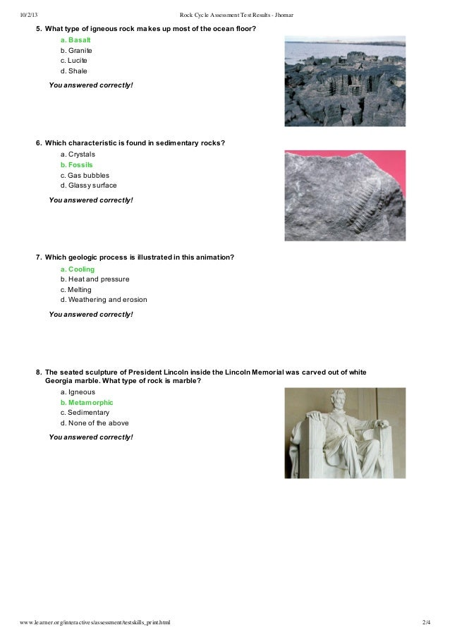 Rock cycle assessment test results jhomar 80 12 of 15 correct 2 10213 rock cycle assessment ccuart Image collections