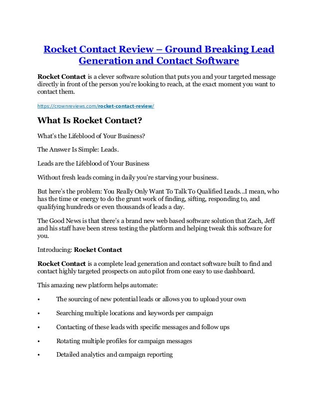 Rocket Contact Review – Ground Breaking Lead Generation and Contact Software Rocket Contact is a clever software solution ...