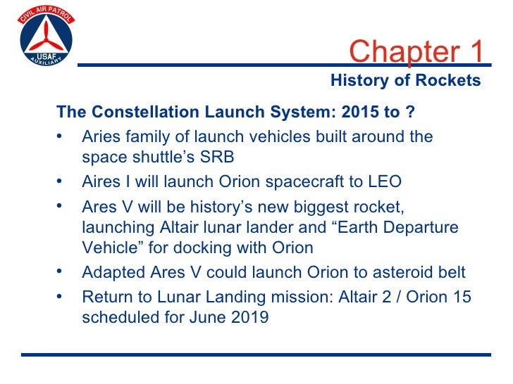 Chapter 1                                    History of Rockets The Constellation Launch System: 2015 to ? • Aries family ...