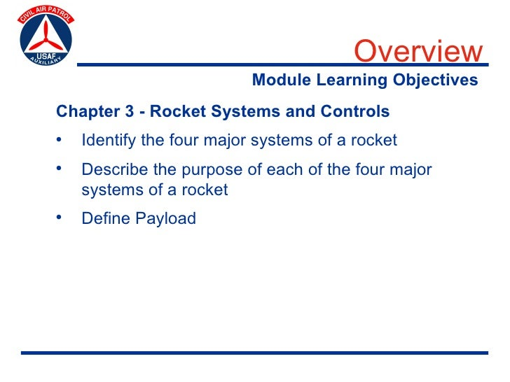 Overview                            Module Learning Objectives Chapter 3 - Rocket Systems and Controls •   Identify the fo...
