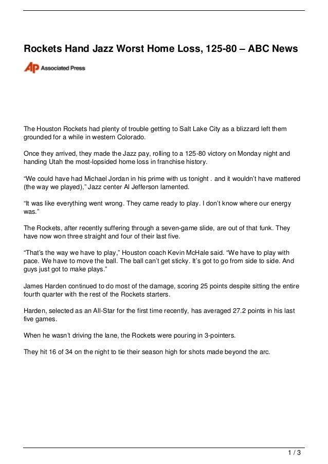 Rockets Hand Jazz Worst Home Loss, 125-80 – ABC NewsThe Houston Rockets had plenty of trouble getting to Salt Lake City as...