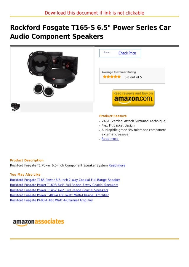 """Download this document if link is not clickableRockford Fosgate T165-S 6.5"""" Power Series CarAudio Component Speakers      ..."""