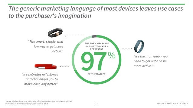 PRESENTATION © 2014 ROCK HEALTH The generic marketing language of most devices leaves use cases to the purchaser's imagina...