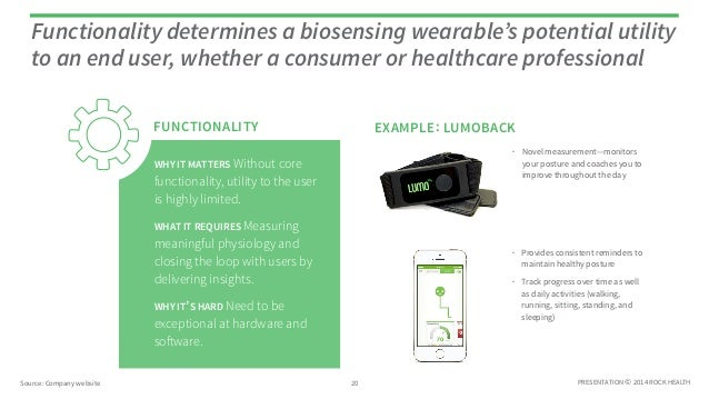PRESENTATION © 2014 ROCK HEALTH Functionality determines a biosensing wearable's potential utility to an end user, whether...