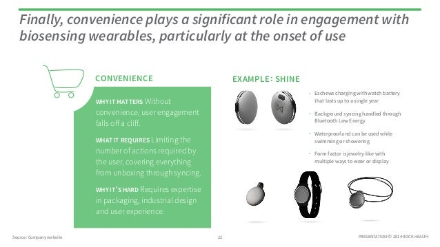 PRESENTATION © 2014 ROCK HEALTH CONVENIENCE Finally, convenience plays a significant role in engagement with biosensing we...