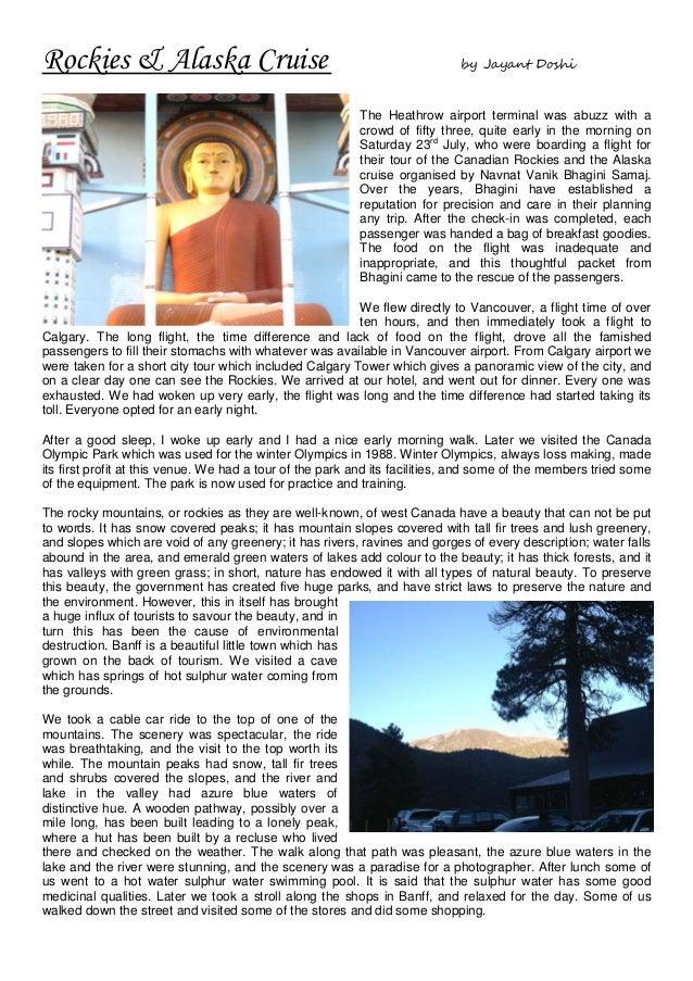 Rockies & Alaska Cruise                                                      by Jayant Doshi                              ...