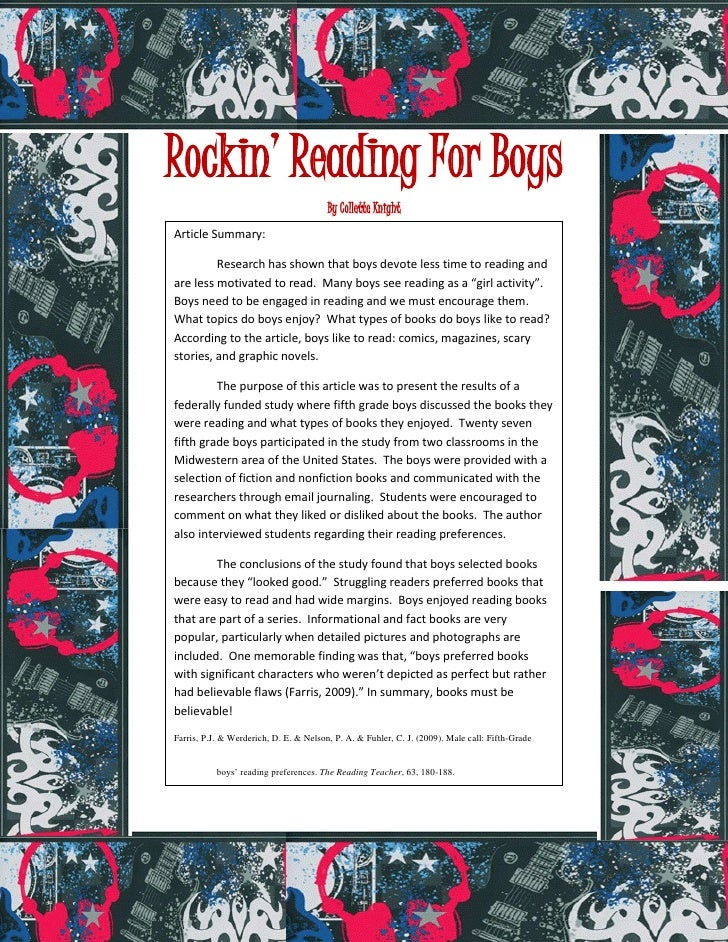 Rockin' Reading For Boys                                        By Collette KnightArticle Summary:         Research has sh...