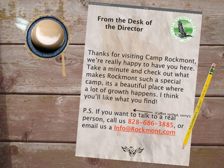 From the De                   sk of         the Director      Thanks for v                 isiting Camp   we're really h  ...