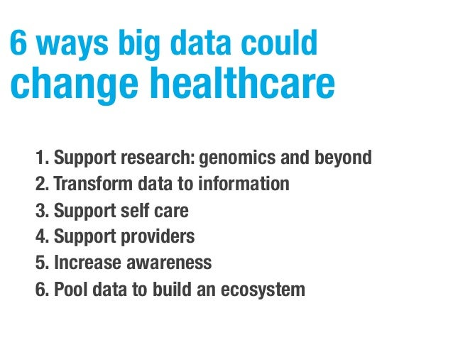 6 ways big data could change healthcare 1. Support research: genomics and beyond 2. Transform data to information 3. Suppo...