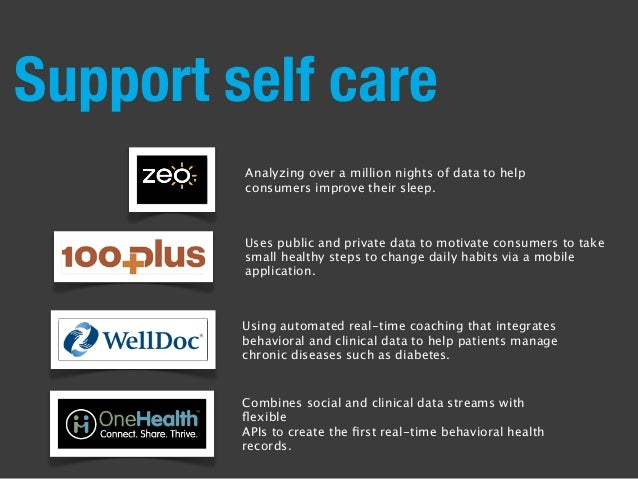 Support self care Uses public and private data to motivate consumers to take small healthy steps to change daily habits vi...