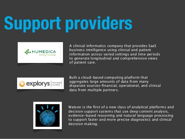 Support providers Built a cloud-based computing platform that aggregates large amounts of data from many disparate sources...