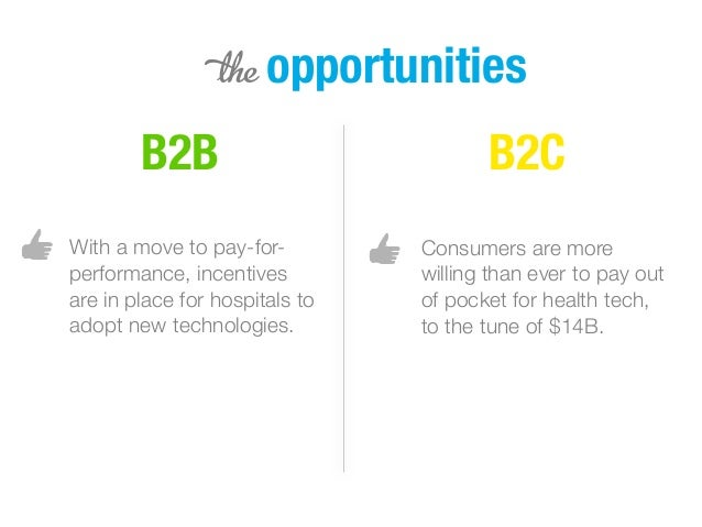 5 opportunities B2B B2C With a move to pay-for- performance, incentives are in place for hospitals to adopt new technologi...
