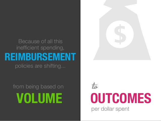 REIMBURSEMENT policies are shifting... from being based on VOLUME OUTCOMES to Because of all this inefficient spending, per...
