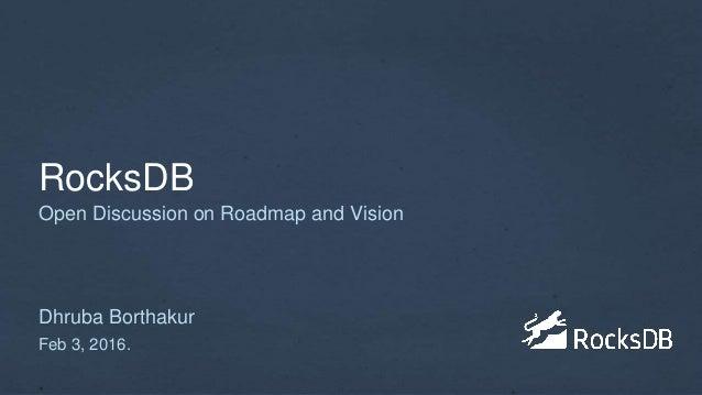 RocksDB Dhruba Borthakur Feb 3, 2016. Open Discussion on Roadmap and Vision