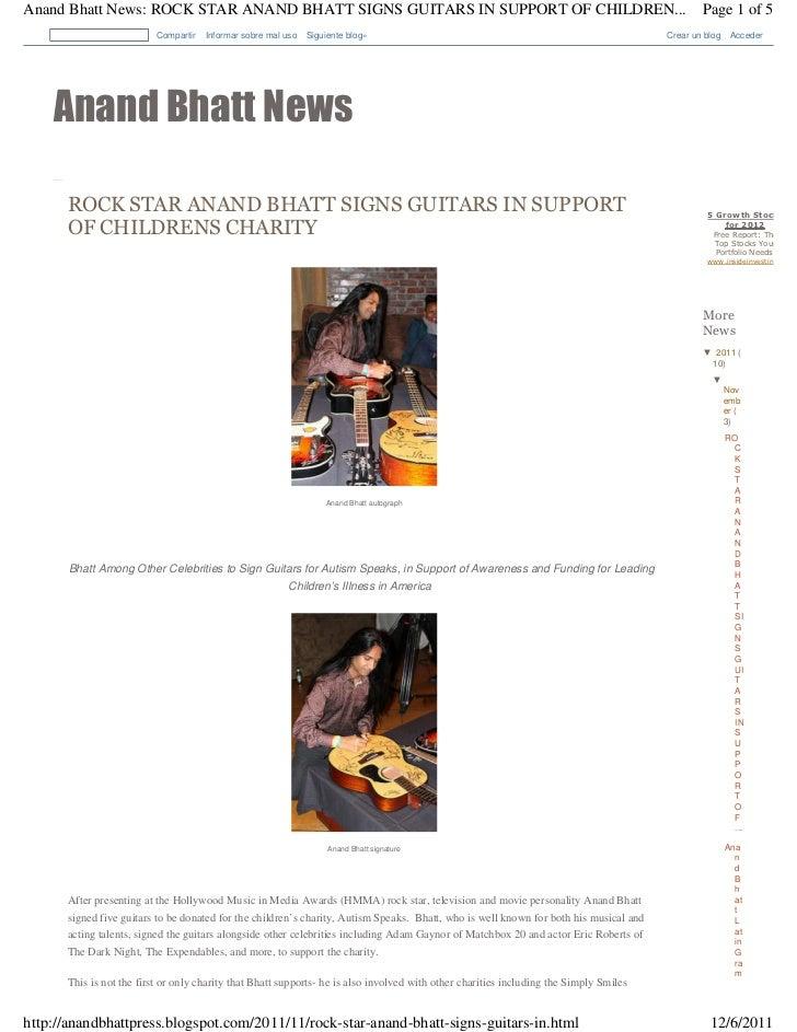 Anand Bhatt News: ROCK STAR ANAND BHATT SIGNS GUITARS IN SUPPORT OF CHILDREN...                                           ...